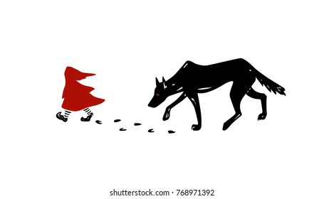 Vector illustration of Little Red Riding Hood fairy tale. The Wolf is chasing the Red Hood. Ink drawing, heavy contour, gloomy atmosphere. Beautiful illustration of storytelling.