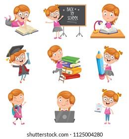 Vector Illustration Of Little School Girl