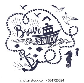 Vector illustration of Little ship in sea waves with anchor, rope, fish and seagulls