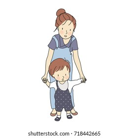 Vector illustration of little toddler first steps. Mother holding baby hand and helping him learn to walk. Early childhood development, family, happy mother's day concept. Cartoon character drawing.
