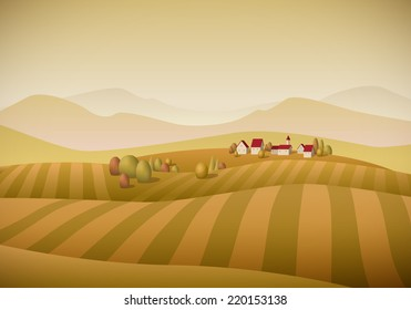 Vector illustration of little village landscape with fields. Autumn version. Elements are layered separately.