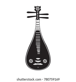 Vector illustration of liuqin isolated on white background. Black and white chinese plucked string musical instrument in flat design.