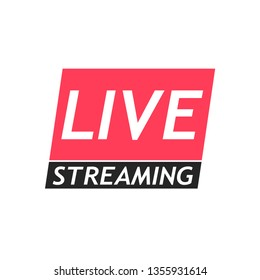 Vector illustration of live broadcast icon, online sign design