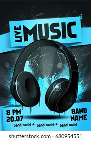 vector illustration live electro music party invitation poster. Electronic music festival flyer with realistic headphones.