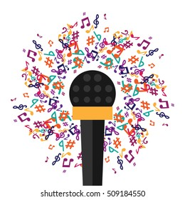 vector illustration for live music concerts with microphone and circle of notes around it