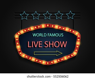 Vector illustration of Live show Signboard retro style with lamps