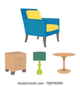 Vector illustration of living room furniture in mid century modern style. Beautiful design elements, perfect for any business related to the furniture industry.