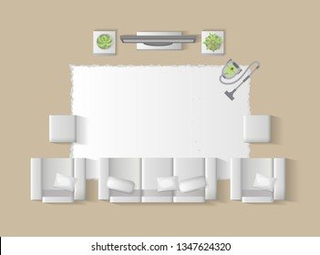 Vector illustration. Living room top view. Sofa, armchairs, table, TV, interior elements. (view from above)