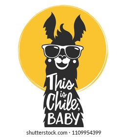 Vector illustration with llama in a sunglasses and lettering text - this is Chile, baby. Typography poster with animal