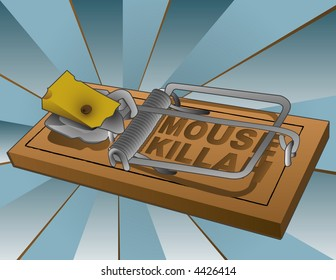 """Vector illustration of a loaded mousetrap with a wedge of swiss cheese. """"MOUSE KILLAH"""""""