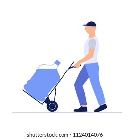 vector illustration loader man moves  large bottle of water on trolley, isolated on white background ,cartoon design