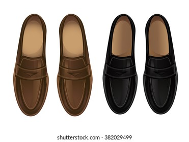 Vector illustration of loafers shoes isolated on white background.
