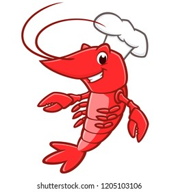 Vector illustration of a lobster wearing chef hat
