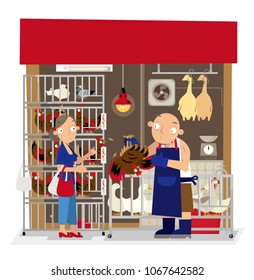 Vector illustration of local live poultry stall in Hong Kong