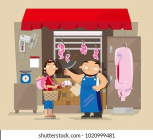 Vector illustration of local pork butcher's shop in Hong Kong