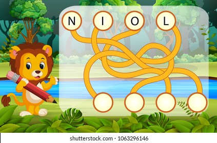 vector illustration of Logic puzzle game for study English with lion