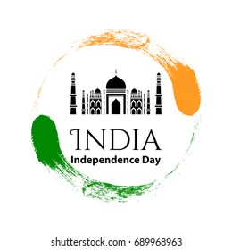 Vector illustration logo 15 August Indian Independence day in vintage style. Famous Indian Mosque icon. Design template poster, banner, flayer,greeting, invitation card. Independence day cards.