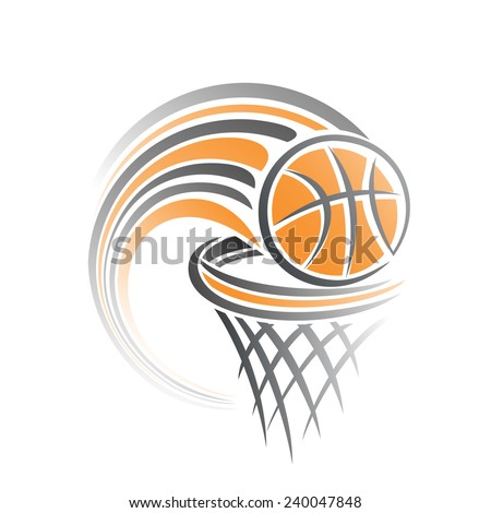 Vector illustration of the logo for basketball, consisting of flying on a trajectory basketball ball, thrown exactly in the ring with net; target hit