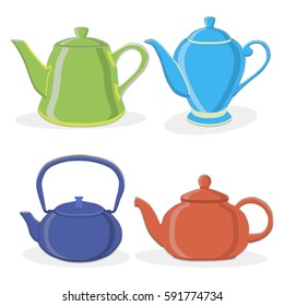 Vector illustration of logo for ceramic teapot, kettle on background. Teapot pattern consisting of four glass kettles with handle, lid, spout for draining liquid coffee, tea. Kettle teas in teapots.