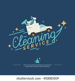 Vector illustration logo for a cleaning service. Car with tools on blue background in flat style suited for advertising, poster, web design, website