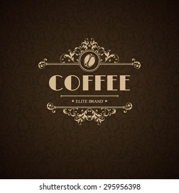 Vector illustration logo coffee house, coffee shop, cafe, menu, business sign, identity, branding design element in vintage elegant style Template flourishes calligraphic frame and coffee bean icon