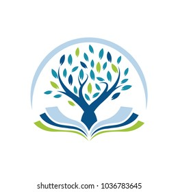 Vector Illustration : Logo Concept For Tree and Book