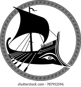 vector illustration of a logo design of an ancient Greek ship