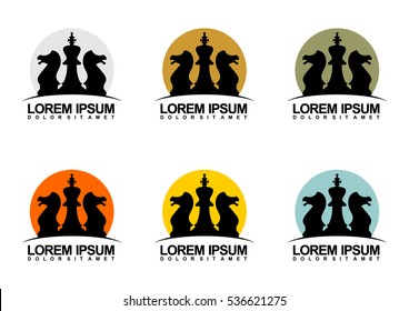 Vector illustration of logo design for a chess companies or a chess player. Flat design.