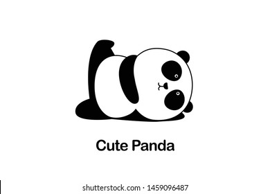 Vector Illustration / Logo Design - Cute funny baby cartoon giant panda is doing yoga, lying down and raising one leg