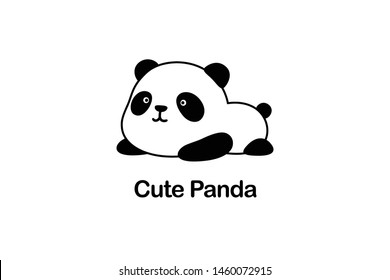 Vector Illustration / Logo Design - Cute funny fat baby cartoon giant panda bear lies on its stomach on the ground