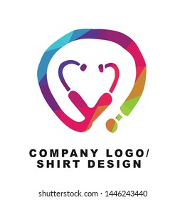Vector Illustration Logo Design of Doctor and Nurse Stethoscope for Medical with Geometry Polygon Rainbow Color. Graphic Design for Shirt, Background, Template, Layout, Website, Mobile App and More.
