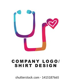 Vector Illustration Logo Design of Medical Stethoscope with Geometry Polygon Rainbow Color. Graphic Design for Shirt, Background, Template, Layout, Website, Mobile App and More.