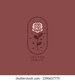 Vector illustration and logo design template in vintage line simple style - rose flower - badge and emblem for cosmetics and beauty products