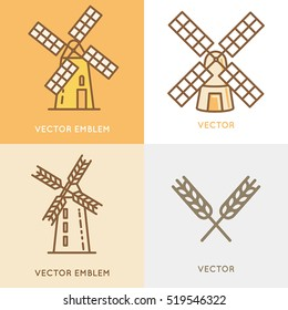 Vector illustration and logo design template in modern flat linear style - wind mill - bakery emblem - agriculture landscape