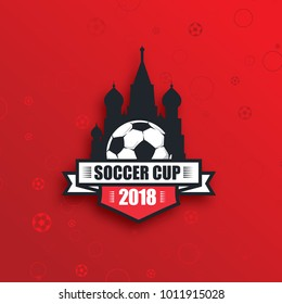 vector illustration logo football cup 2018. design of stylish background soccer championship. vector ball. element design cards, invitations, gift , flyers, brochures. pattern dynamic lines