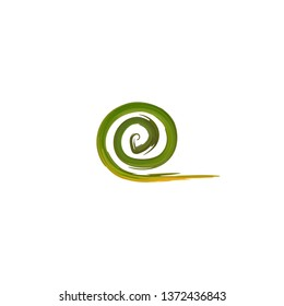 vector illustration logo grass sod twist or twirl in green natural color in flat design icon style