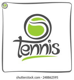 Vector illustration of the logo for green ball of lawn tennis, consisting of  isolated tennis ball closeup on white background