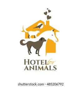 vector illustration. logo hotel for animals. cat, dog, parrot, horse frame. template for example a company logo help animals pet. stylish design graphics temporary housing