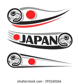 """Vector illustration of the logo for """"Japan football"""", consisting of three isolated flags illustrations with the Japanese flag, soccer ball and text Japan on a white background"""