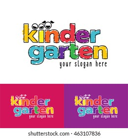 Vector Illustration. Logo kindergarten and school, learning and education.