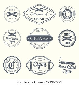 Vector Illustration with logo and labels. Simple symbols with tobacco and cigar. Traditions of smoke. Decorative elements and icon for your design. Gentleman style.