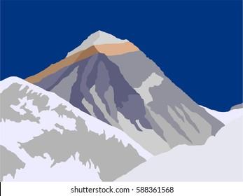 vector illustration logo of Mount Everest 8,848 m, geological structure, Sagarmatha national park, Khumbu valley, Nepal