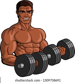 Vector illustration logo of a muscular black male bodybuilder working out with dumbells.