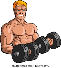 Vector illustration logo of a muscular blond male bodybuilder working out with dumbells.