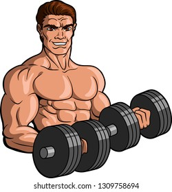 Vector illustration logo of a muscular Caucasian male bodybuilder working out with dumbells.