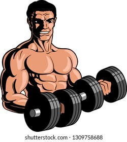 Vector illustration logo of a muscular male bodybuilder working out with dumbells.