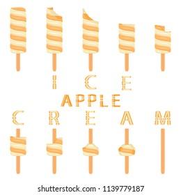 Vector illustration logo for natural apple ice cream on stick. Ice Cream pattern consisting of sweet cold icecream, set tasty frozen dessert. Fresh fruit icecreams of apple on sticks.