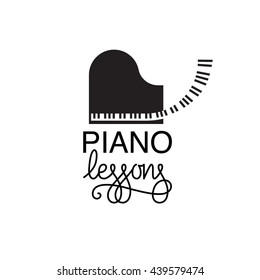 Vector illustration of logo for piano lessons or concerts, or music store, etc. Custom lettering with flourishes