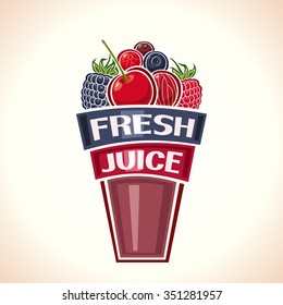 Vector illustration logo for purple Fresh berry Juice, glass cup filled with berries still life composition fresh juice: cherry, raspberry, blackberry, blueberry, currant,