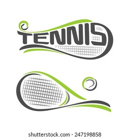 Vector illustration of the logo for rackets of lawn tennis, consisting of  isolated tennis racquets with green ball closeup on white background